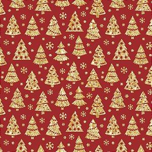 Tricoline Natal Árvores Douradas F Vermelho, 50cm x 1,50mt