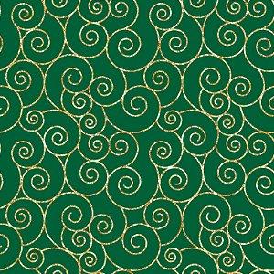 Tricoline Natal Caracóis F Verde, 100% Algodão 50cm x 1,50mt