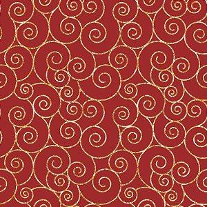 Tricoline Natal Caracóis F Vermelho, 100%Algod 50cm x 1,50mt