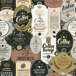 Tricoline Digital Rótulos Coffe, 100% Algodão, 50cm x 1,50mt