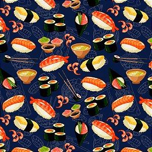 Tricoline Digital Sushi F. Azul, 100% Algodão, 50cm x 1,50mt
