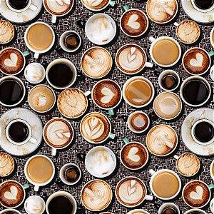 Tricoline Digital Xícaras de Café 100% Algodão, 50cm x 1,50m