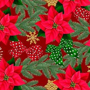 Tricoline Digital Natal Flores e Laços F Verm, 50cm x 1,50mt