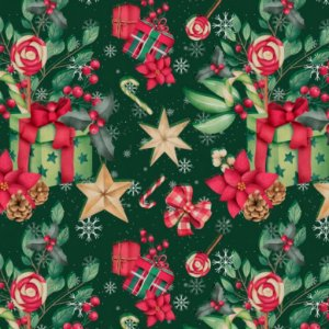Tricoline Digital Natal Presentes F. Verde, 50cm x 1,50mt