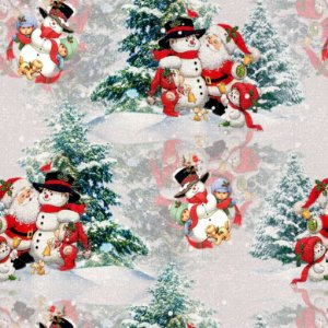 Tricoline Digital Natal Papai Noel c Boneco, 50cm x 1,50mt