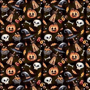 Tricoline Digital Halloween F Preto, 100% Alg, 50cm x 1,50mt