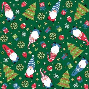 Tricoline Natal Duendes F Verde, 100% Algodão 50cm x 1,50mt