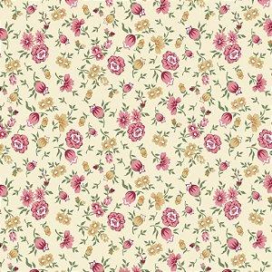 Tecido Tricoline Floral F. Claro, 100% Algodão, 50cm x 1,50m