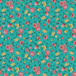 Tecido Tricoline Floral F. Jade, 100% Algodão, 50cm x 1,50mt