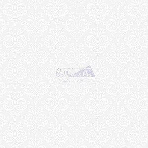 Tricoline Estampado Arabesco - Cor-08 (Branco com Preto), 100% Algodão, Unid. 50cm x 1,50mt