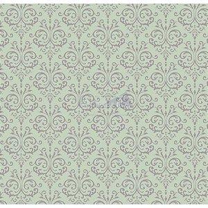 Tricoline Estampado Arabesco - Cor-05 (Verde com Cinza), 100% Algodão, Unid. 50cm x 1,50mt