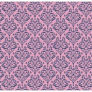 Tricoline Estampado Arabesco - Cor-03 (Rosa Com Marinho), 100% Algodão, Unid. 50cm x 1,50mt