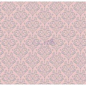 Tricoline Estampado Arabesco - Cor-02 (Rosa), 100% Algodão, Unid. 50cm x 1,50mt