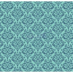 Tricoline Estampado Arabesco - Cor-01 (Tiffany), 100% Algodão, Unid. 50cm x 1,50mt