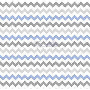 Tricoline Estampado Chevron Zarah - Cor-12 (Azul com Cinza), 100% Algodão, Unid. 50cm x 1,50mt