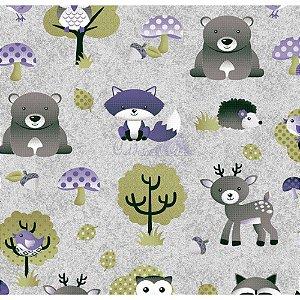Tricoline Estampado Floresta - Cor-07 (Cinza com Lilás), 100% Algodão, Unid. 50cm x 1,50mt