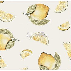 Tricoline Estampado Limão Fatiado - Cor-06 (Bege), 100% Algodão, Unid. 50cm x 1,50mt