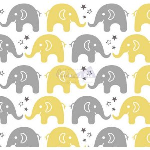 Tricoline Estampado  Elefante Maya - Cor-06 (Amarelo com Cinza), 100% Algodão, Unid. 50cm x 1,50mt