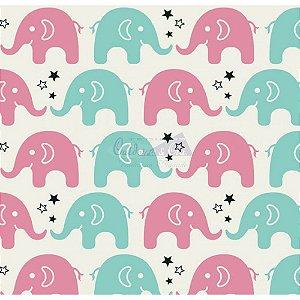 Tricoline Estampado  Elefante Maya - Cor-05 (Tiffany com Pink), 100% Algodão, Unid. 50cm x 1,50mt