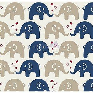 Tricoline Estampado  Elefante Maya - Cor-04 (Marinho), 100% Algodão, Unid. 50cm x 1,50mt