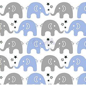 Tricoline Estampado Elefante Maya - Cor-01 (Azul com Cinza), 100% Algodão, Unid. 50cm x 1,50mt