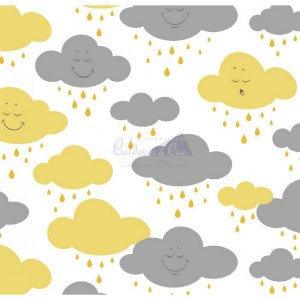 Tricoline Estampado Nuvem Cloud - Cor-06 (Amarelo com Cinza), 100% Algodão, Unid. 50cm x 1,50mt