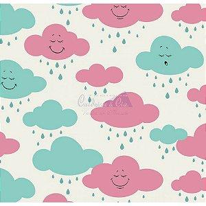 Tricoline Estampado Nuvem Cloud - Cor-05 (Tiffany com Pink), 100% Algodão, Unid. 50cm x 1,50mt