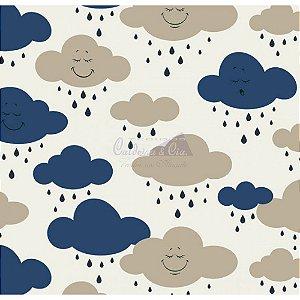 Tricoline Estampado Nuvem Cloud - Cor-04 (Marinho), 100% Algodão, Unid. 50cm x 1,50mt