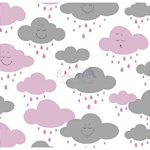 Tricoline Estampado Nuvem Cloud - Cor-03 (Rosa com Cinza), 100% Algodão, Unid. 50cm x 1,50mt