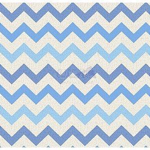 Tricoline Estampado Chevron Nara - Cor-07 (Azul e Azul claro), 100% Algodão, Unid. 50cm x 1,50mt