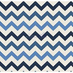 Tricoline Estampado Chevron Nara - Cor-03 (Azul e Marinho), 100% Algodão, Unid. 50cm x 1,50mt