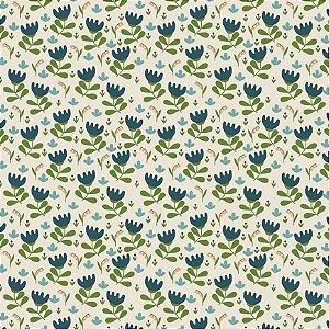 Tecido Tricoline Blue Flower, 100% Algodão, 50cm x 1,50mt