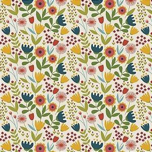 Tricoline Happy Flowers, 100% Algodão, 50cm x 1,50mt