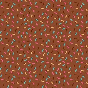 Tricoline Confeitos Marrom, 100% Algodão, 50cm x 1,50mt