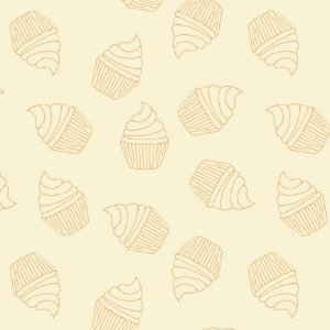 Tricoline Contorno de Cupcakes Creme, 100%Alg, 50cm x 1,50mt
