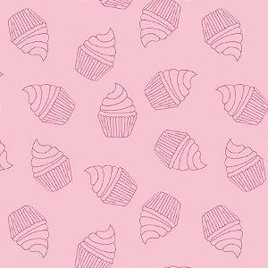 Tricoline Contorno de Cupcakes Rosa, 100% Alg, 50cm x 1,50mt