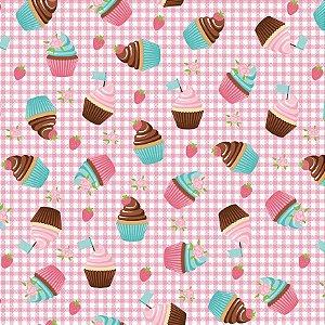 Tecido Tricoline Cupcakes Xadrez Rosa, 100%Alg, 50cm x 1,50m