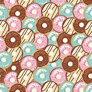 Tecido Tricoline Donnuts, 100% Algodão, 50cm x 1,50mt
