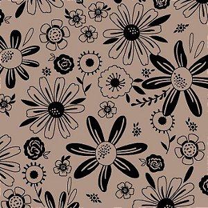 Tricoline Floral Esperança Fund Bege, 100% Alg, 50cm x 1,50m