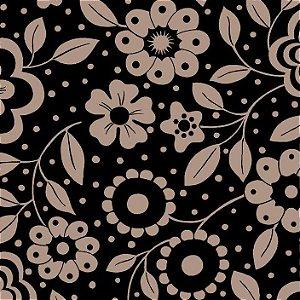 Tricoline Floral Alegria Fundo Preto, 100% Alg, 50cm x 1,50m