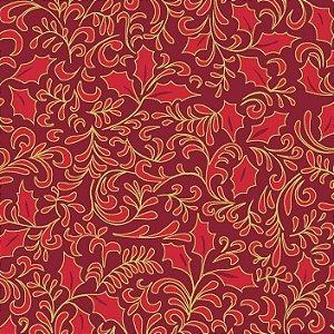 Tricoline Natal Folhas Vermelho, 100% Algodão, 50cm x 1,50mt