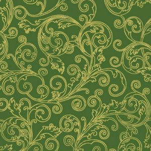 Tricoline Natal Arabesco Verde, 100% Algodão, 50cm x 1,50mt