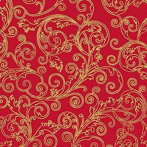 Tricoline Natal Arabesco Vermelho, 100% Algod, 50cm x 1,50mt