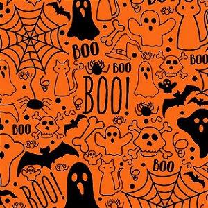 Tricoline Halloween Fundo Laranja, 100% Algod, 50cm x 1,50mt