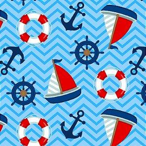 Tricoline Barcos Velejando, 100% Algodão, 50cm x 1,50mt