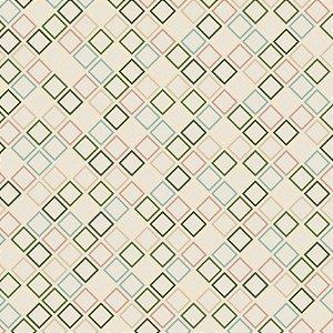 Tecido Tricoline Geométrico Garden, 100% Algod, 50cm x 1,50m