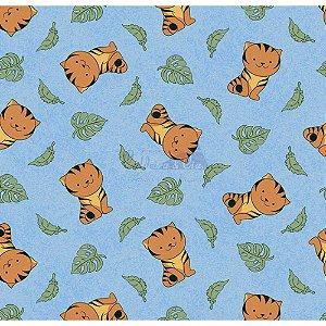 Tricoline Tigre (Azul), 100% Algodão, Unid. 50cm x 1,50mt