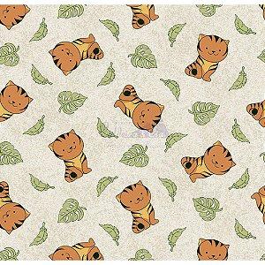 Tricoline Tigre (Bege), 100% Algodão, Unid. 50cm x 1,50mt