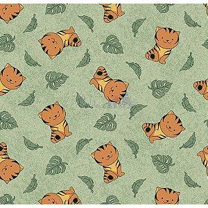 Tricoline Tigre (Verde), 100% Algodão, Unid. 50cm x 1,50mt