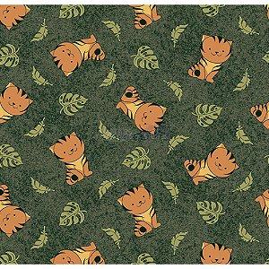 Tricoline Tigre (Verde Musgo), 100% Algodão, Unid. 50cm x 1,50mt